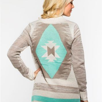 Space-Dye Aztec Cardigan