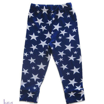 Star Printed Baby Pants, Blue and White Baby Leggings