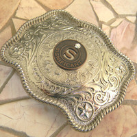 Letter S Significant Other Token Silver Belt Buckle, Western Belt Buckle, Boyfriend Gift,Girlfriend Gift, Monogram Monogrammed Belt Buckle