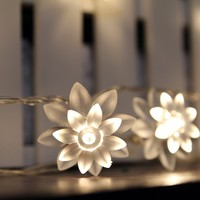 InnooTech 40 LED Fairy Light String Battery Operated Warm White Lotus for Bedroom Outdoor Decoration