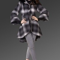 Herringbone Detail Trench Coat with Fur Trim Hood - Oasap High Street Fashion