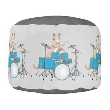 Cat Playing Drums, Blue - Round Pouf