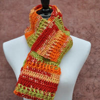 Orange Red Green Scarf Handmade Crochet Infinity Outerwear Gifts for Her Ready to Ship