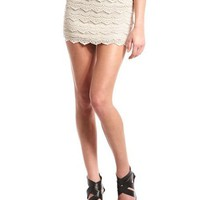 Tiered Crochet Mini Skirt: Charlotte Russe