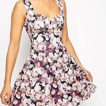 ASOS | ASOS Skater Dress with Sweetheart Neck in Fall Floral Textured Print at ASOS