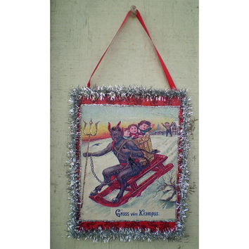 Krampus Christmas home decoration Yule holiday devil vintage style ornament holiday home decor