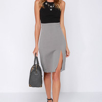 Going Greyscale Black and Grey Midi Dress
