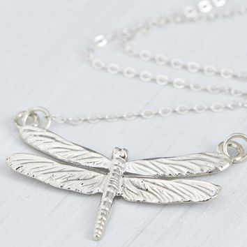 Fall Sale Sterling Silver Dragonfly Necklace - Dragonfly Jewelry - Silver Jewelry - Dragonfly Pendant - Sterling Dragonfly
