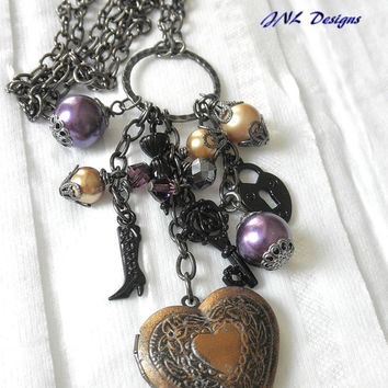 Charm Locket Handmade Necklace with Purple and Gold Pearls.Black Umbrella,Key, and High Heel Boot Charm Necklace for Her