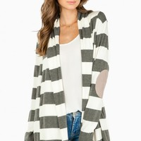 ANDY STRIPED CARDIGAN IN GREY