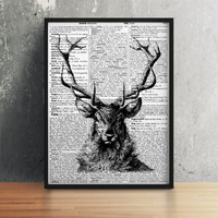Deer poster Stag print Dictionary art Modern decor