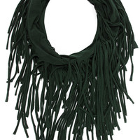Festival Nights Forest Green Fringed Infinity Scarf