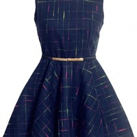 Classic Plaid Pleated Princess A-Line Dress - OASAP.com