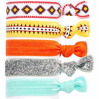 Embellished Ponytail Holders, Elastic Hair Accessories, Glitter Hair Ties, Set of 5 Hair Ties in Orange Aztec ( HA-3934)