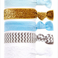 Embellished Ponytail Holders, Elastic Hair Accessories, Glitter Hair Ties, Set of 5 Hair Ties in Blue Chevron ( HA-3931)