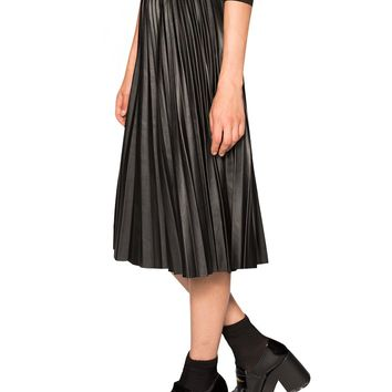 Pleats Please Leather Midi Skirt
