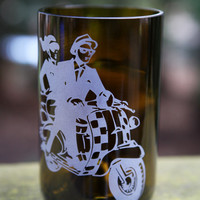 Ska Scooter drinking glass upcycled from wine bottle
