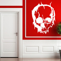 Cracked Skull Wall Decal - Small