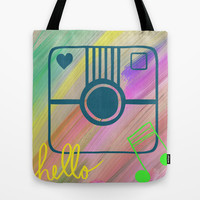 Hello hello smile, abstract art, painting, mixed media,by healinglove Tote Bag by Healinglove art products