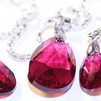 Genuine RUBY RED Swarovski crystals set.  July Birthstone RUBY