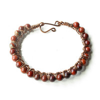 Beaded gemstone bracelet - Fall red stone berries - copper bangle