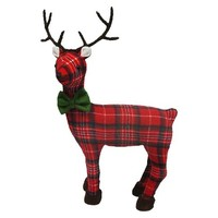 Cute Plaid Reindeer Décor - Red