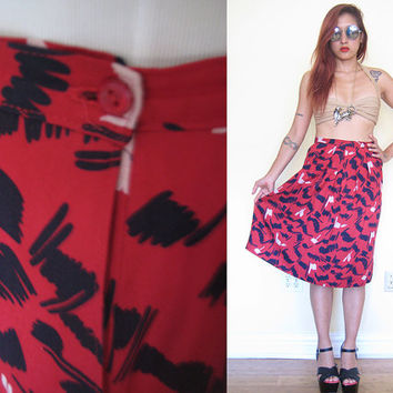 Vintage 80's red graphic print gathered midi skirt knee length