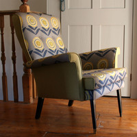 Winter's Moon ? Vintage Armchair in Floral Grey - SOLD