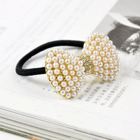 Korean Style Rhinestone Pearl Bow Hair Band wholesale