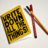 Handmade notebook Yellow &quot;All the things&quot;