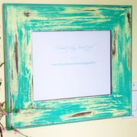 8 X 10 Teal and Yellow Distressed Picture Frame, Country Chic, Shabby Chic