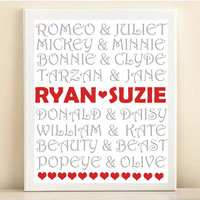 Famous Couples Valentine's Day Typography Print: Personalized Names 8x10 Wedding Engagement Gift, Gray & Red