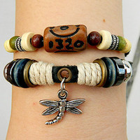Metal Dragonfly  Adjustable bracelet-antique silver bracelet Cowhide Leather hipster jewelry leather bracelet wooden  bead and hollowed tube