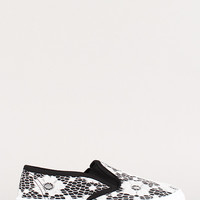 Floral Lace Round Toe Slip On Sneaker