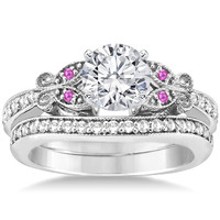 Engagement Ring - Butterfly Pink Eyes Bridal Set in 14K White Gold - ES334BRBSPS
