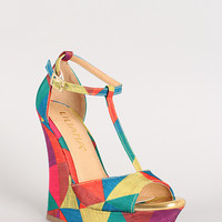 Liliana Honfleur-69 T-Strap Open Toe Platform Wedge