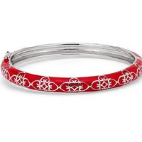Narrow Red Enamel Bangle Bracelet in Sterling Silver