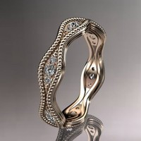 14kt rose gold diamond leaf and vine wedding ring,engagement ring,......