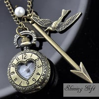 Hunger Games Real or not Real, Inspired Arrow,Bird, Mockingjay and Peeta Pearl Roman numerals Pocket watch Locket Necklace