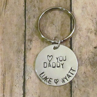 Dad Key chain -- Birthday gift  --  heart  you daddy -- personalized with children's names