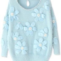 Sweet Floral Loose Beaded Faux Pearl Knit Sweater - OASAP.com