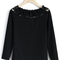 Elastic Lace Trimmed Top in Black