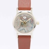Leather Dome Globe Watch in Tan - Urban Outfitters