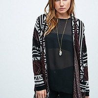Staring at Stars Geometric Cardigan in Burgundy and Mono - Urban Outfitters