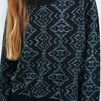 Staring at Stars Geometric Ottoman Sweatshirt in Black - Urban Outfitters