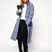 ASOS Coat In Maxi Length Boiled Wool at asos.com