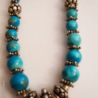 SALE Natural Howlite Turquoise Antique look Handcrafted Strand Bali Necklace Collectible Genuine Gemstone