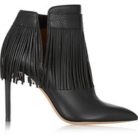 Valentino - Fringed textured-leather ankle boots