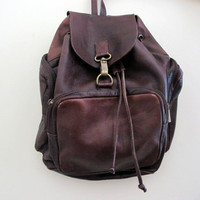 Vintage Leather Backpack Brown Rucksack Back To School