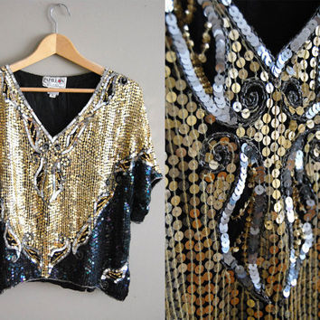 The Disco Queen  - Vintage 80s Gold Blck Sequin Slouchy Top